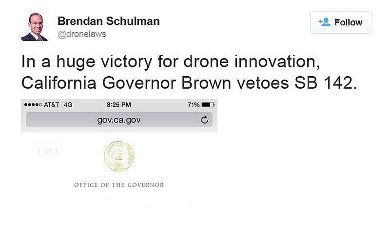 Brendan Schulman 在其 Twitter 帳上大聲疾呼,這是「無人機創新的重大勝利」