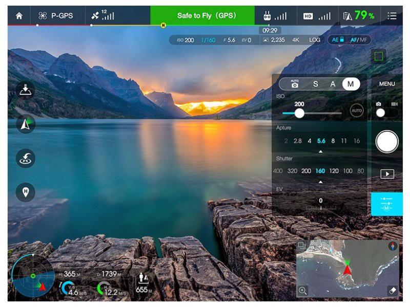 說到 Zenmuse X5 系列最吸引之處,也許是可使用《DJI Go App》,其圖傳畫質較高,操作亦簡單得多。
