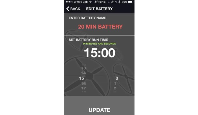 航拍玩家只要在輸入電池大概的續航時間,《UAV Battery Flight Timer》便會以倒數方式進行計時。