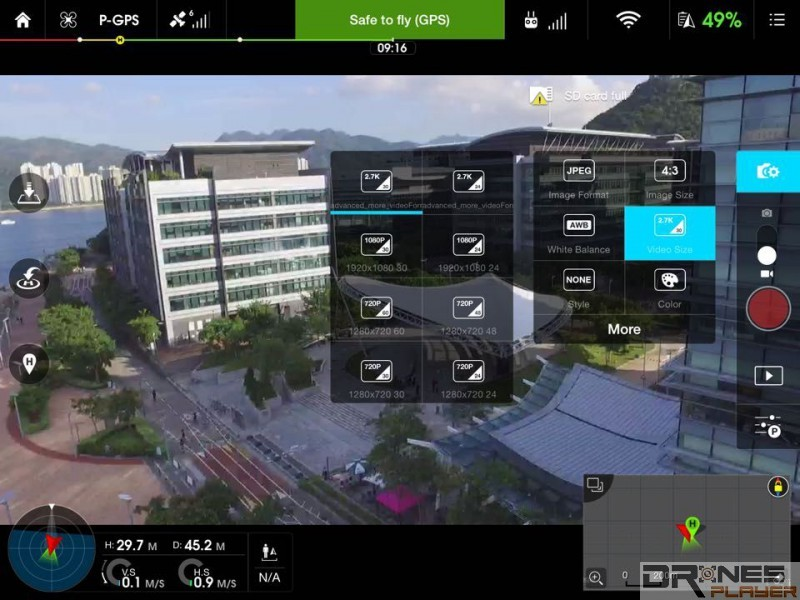 DJI Phantom 3 Standard 加入 2.7k 影片攝錄功能,是此機的一大賣點,不過畫格數目只有 30 fps,略嫌不足。