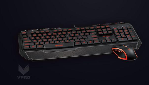 雷柏的主要業務本為生產電腦周邊產品。圖為 Rapoo V100 鍵盤滑鼠組合。