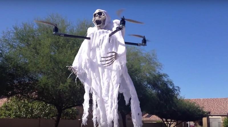 無人機扮鬼嚇人 萬聖節四圍飄