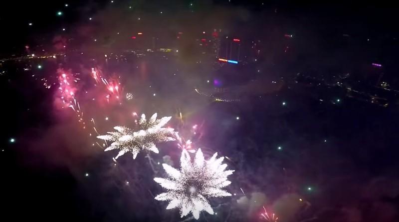 航拍香港煙花匯演