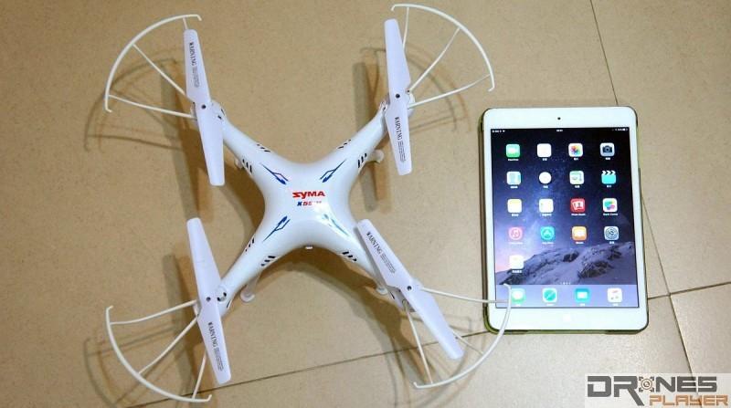 Syma X5SW 機身體積只有 31.5 x 31.5 x 11.5cm,僅僅比與 iPad Mini 大上一個碼。機體預設已安裝槳翼,再加上保護圈,可作室內飛行。