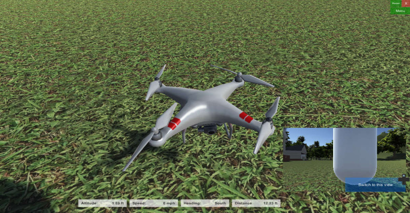 模擬機體(的造型)是 DJI Phantom 2 Vision+