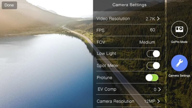 《Solo》1.3.1 版本加入的全新GoPro 相機設定功能。