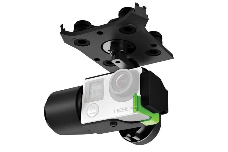 3D Robotics Solo 無人機要加裝圖中的原廠雲台,才可裝上 GoPro 運動相機,實現航拍功能。
