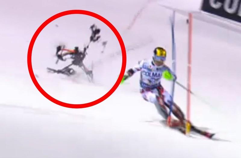 航拍機恰好墜落於滑雪選手 Marcel Hirscher 的身後。