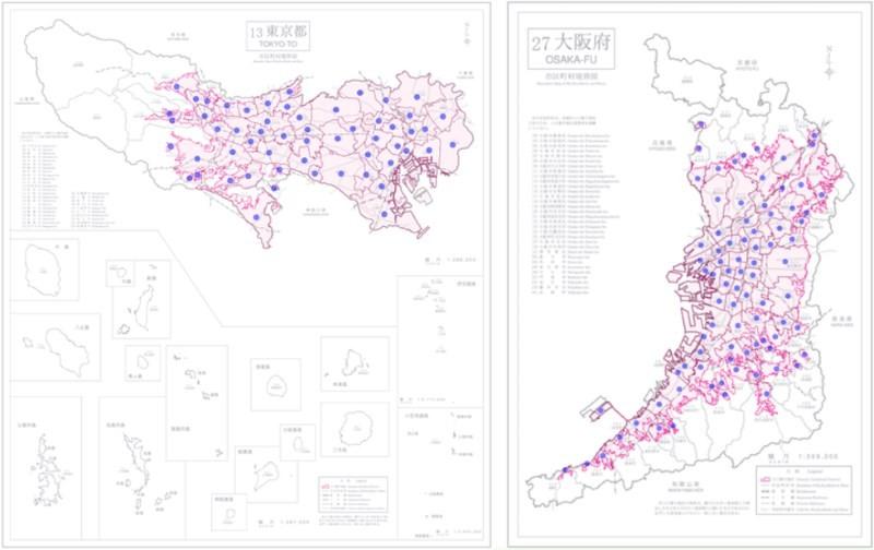 東京都和大阪府有大量人口集中地區,即無人機禁飛區(取自日本統計局)
