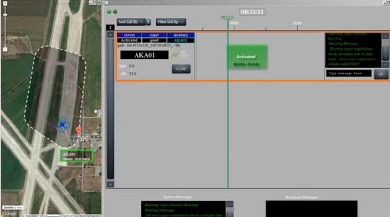 NASA 低空交通管理系統的軟件介面,左方地圖上的虛線位置,標示著無人機限飛範圍。