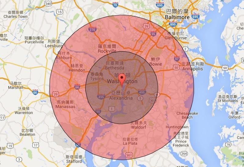 華盛頓哥倫比亞特區周邊的飛行禁區:灰色內圈為機場方圓 15 哩,紅色外圈為方圓 30 哩。