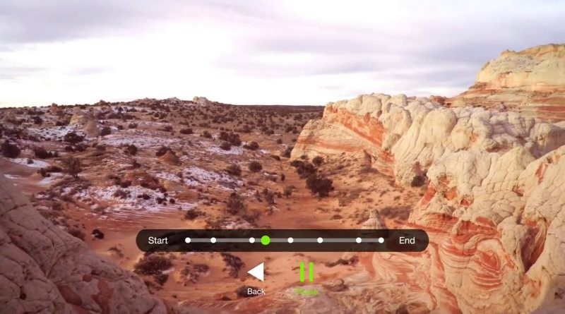 3D Robotics Solo 新版智能空拍功能的操作畫面。