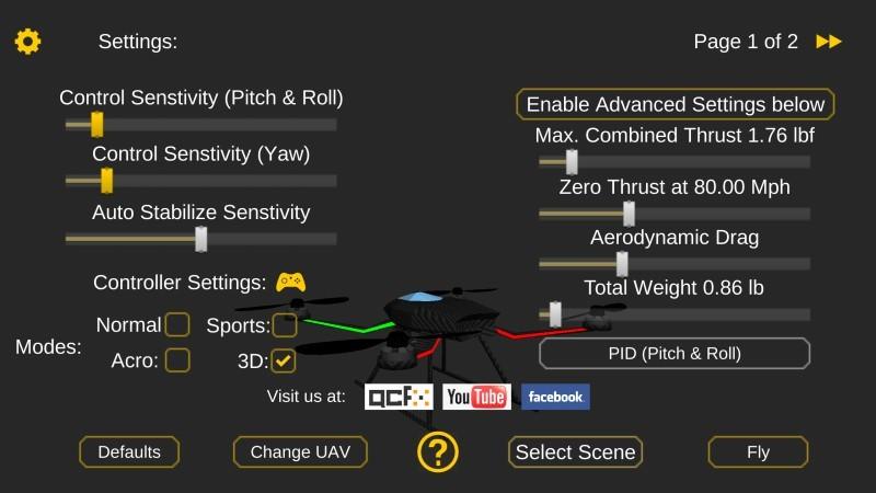 《Quadcopter FX Simulator》設定選項豐富,操控面板、敏銳度、風速設定、視覺都可供調校。
