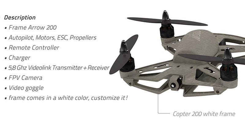 Arrow 200 是入門型號無人機,只備有一款淨色機架。