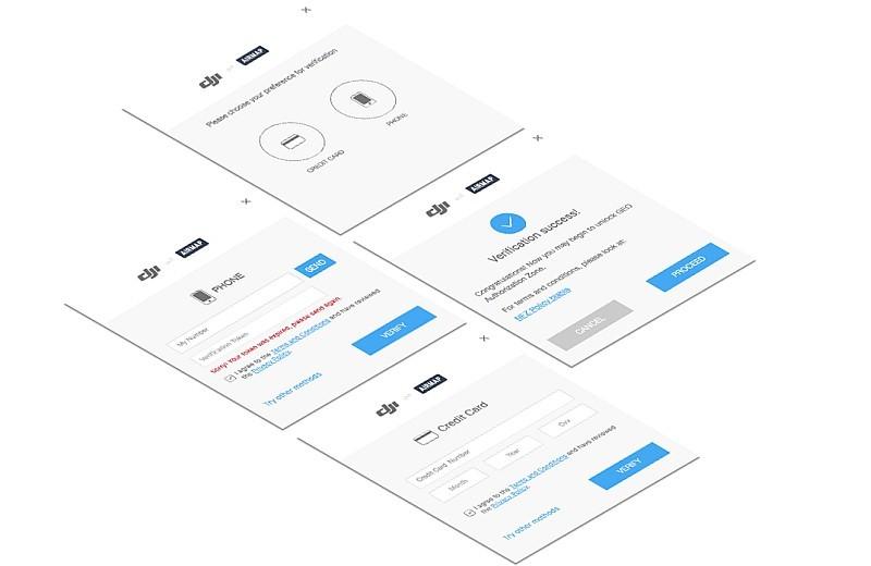 DJI 用戶需要事先輸入信用卡資料或電話號碼來認證身份,之後才可提交禁飛解鎖申請。