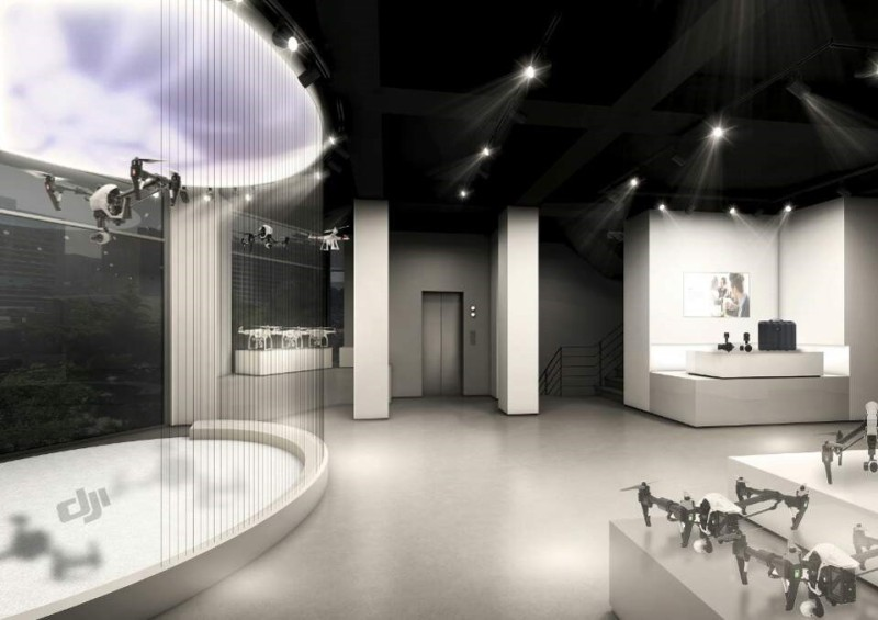 DJI 韓國首爾旗艦店(室內)概念圖,可見右方為航拍機展示區,右方為無人機體驗區。