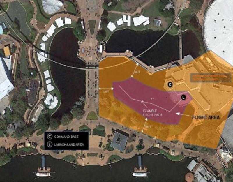 根據早前網上流出的迪士尼樂園分區圖,迪士尼未來世界(Disney Epcot)內將設立無人機飛行區(圖中紅色部分)。