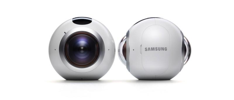 Samsung Gear 360 機身前後均配備魚眼鏡頭,機頂則設有簡約按鈕。