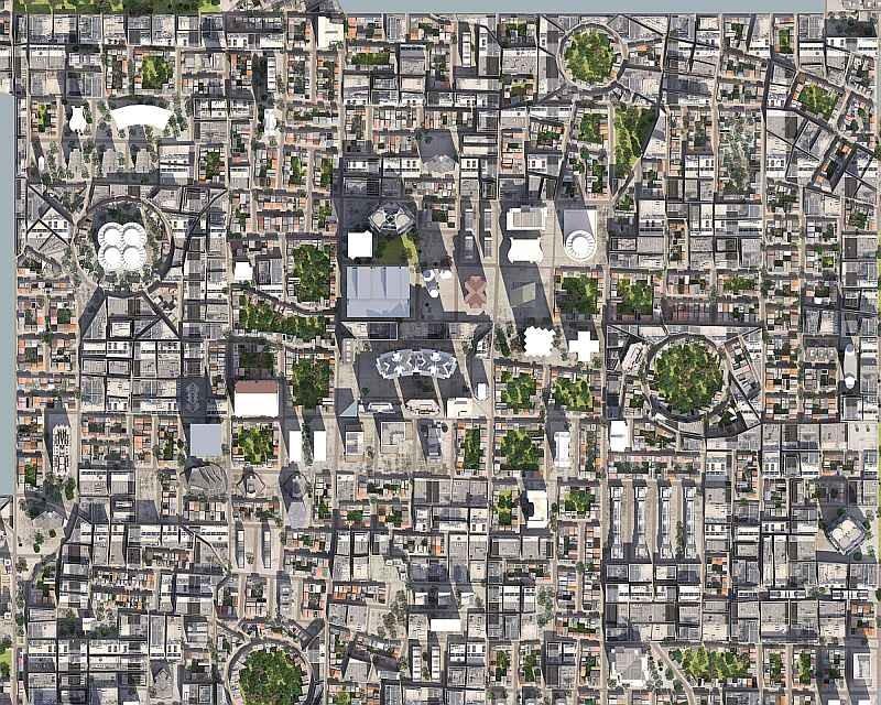 從高空拍攝城市的鳥瞰圖,整個城市變得像是紙上地圖。(圖片來源:ShutterStock.com)