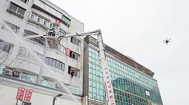 台灣宜蘭春節前火災演習 出動消防空拍機
