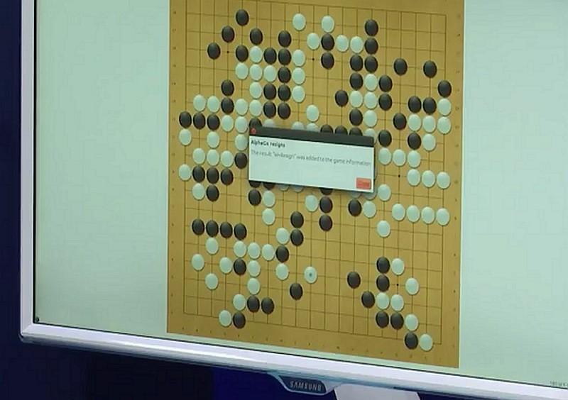 AlphaGo 認輸投降(Resign)的畫面。