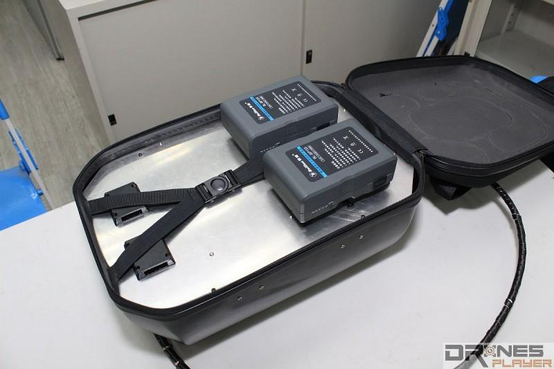 Skynet 背包有兩枚廣播級的錄影機電池,連續發射也可使用兩小時。