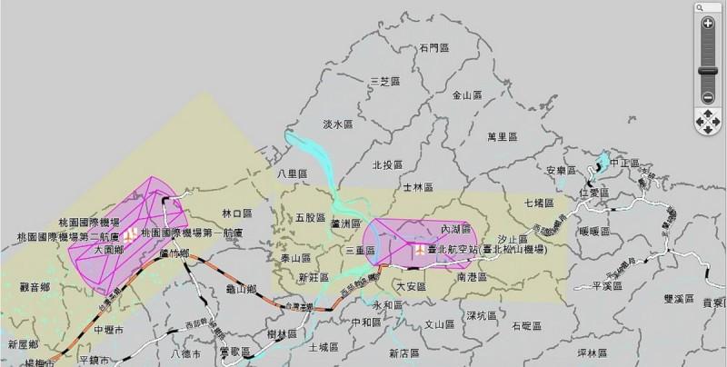 台北機場禁飛地點地圖一覽