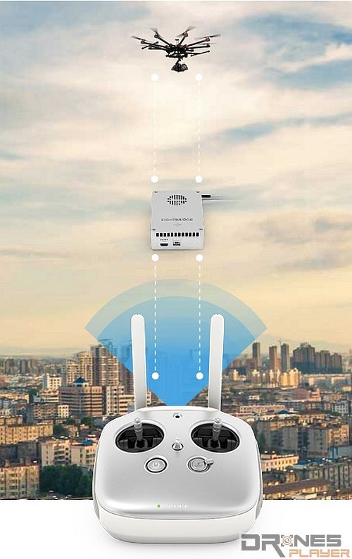 DJI Lightbridge 2 圖傳技術以中繼原理提供近 5 千米的圖傳距離,還可提供 720p 解像度的實時畫面。