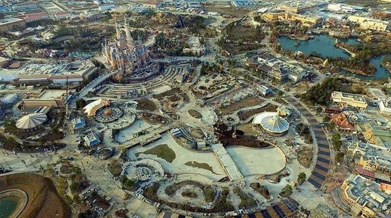 上海迪士尼最新的空拍全圖。(圖片來源:翻攝自新華視點微博)
