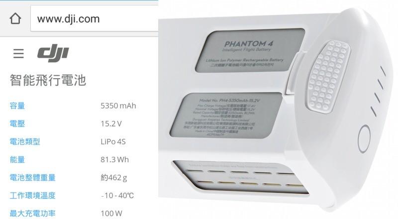 DJI Phantom 4 電池能量為 81.3 瓦時