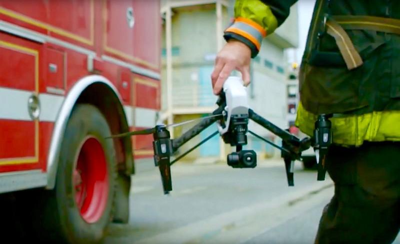 DJI Zenmuse XT 熱能感應相機可安裝於 Inspire 1 無人機,輔助滅火救援。