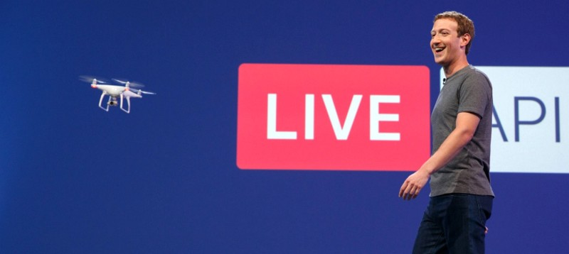 Facebook 執行長朱克伯格在 F8 開發者大會上即場使用 DJI 無人機進行 Facebook Live 航拍直播。