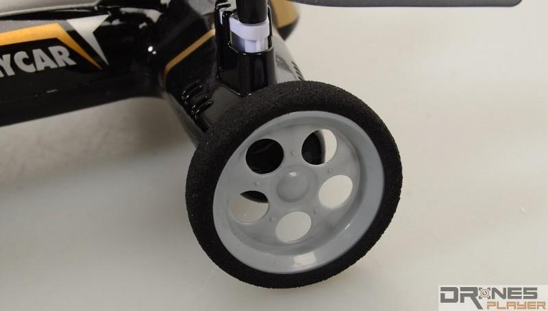 Syma X9 設有四個車輪,並已裝上「海綿」輪胎作吸震。