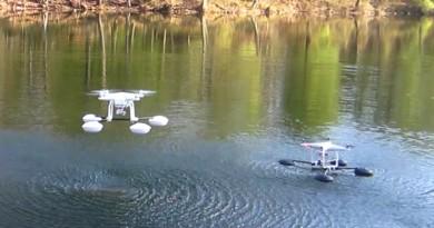 怕無人機入水?WaterStrider 為 DJI Phantom 加上了 4 個氣墊!