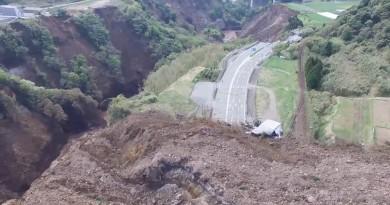 熊本地震空拍助救災 阿蘇大橋崩潰消失