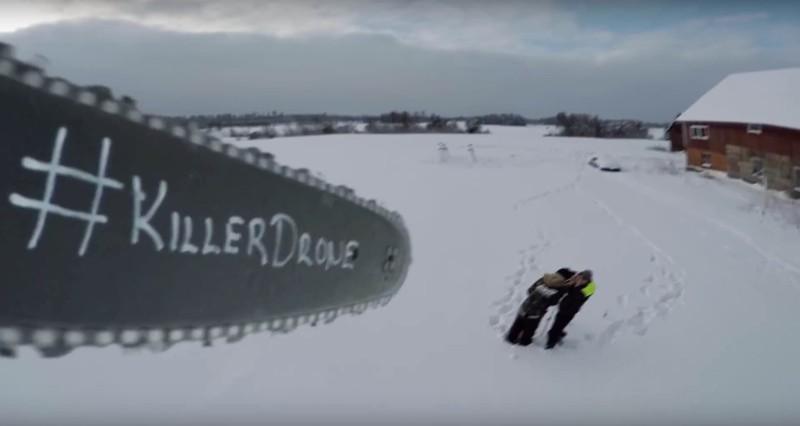 目測所見,電鋸無人機飛行航線與操作者位置相距不遠。