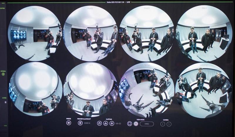 Nokia OZO 8 組魚眼鏡所拍 8 組廣角影像。