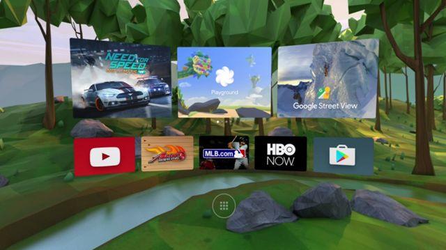 現已有一定數量的 VR apps 支援 Google Daydream 平台,圖為其操作介面。