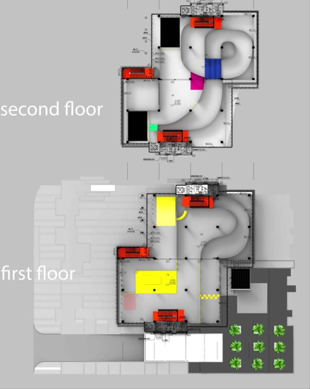 一樓及二樓均為賽道,有不少急彎和上下坡。