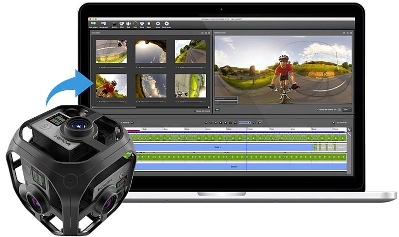 利用 GoPro Omni 攝影裝置拍攝後,還要用《Kolor》軟體進行後製,方可輸出為 VR 影像。