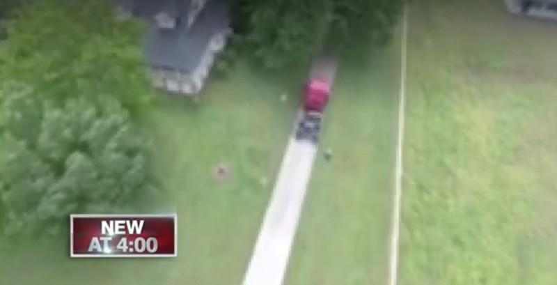 遇襲 Phantom 4 航拍機拍到附近出現一輛陌生的汽車,其後便遭人開槍射擊。航拍畫面在被美國傳媒刊出時經已作模糊化處理。