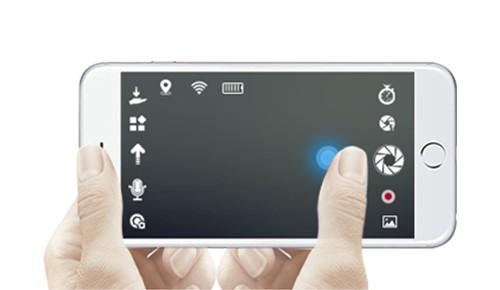 零度智控 Dobby 飛行相機的遙控 app 操作介面。