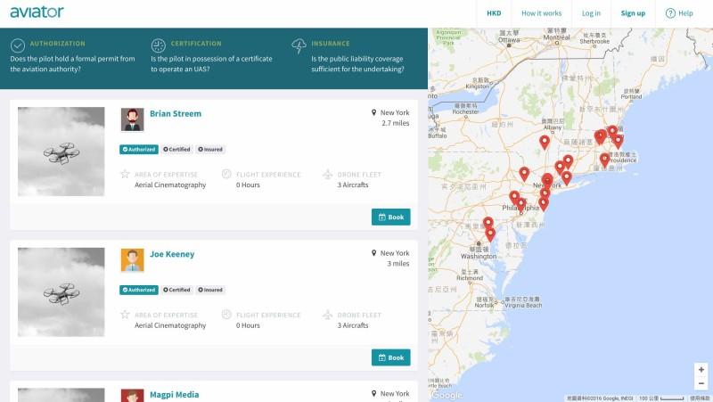 網站可展示飛手在指定區域的分布。