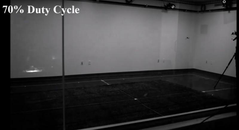 無人機飛行測試在室內設置動態捕捉的環境中進行。