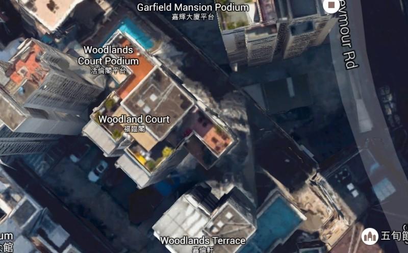 Google Maps 西半山區其中一棟大廈的天台