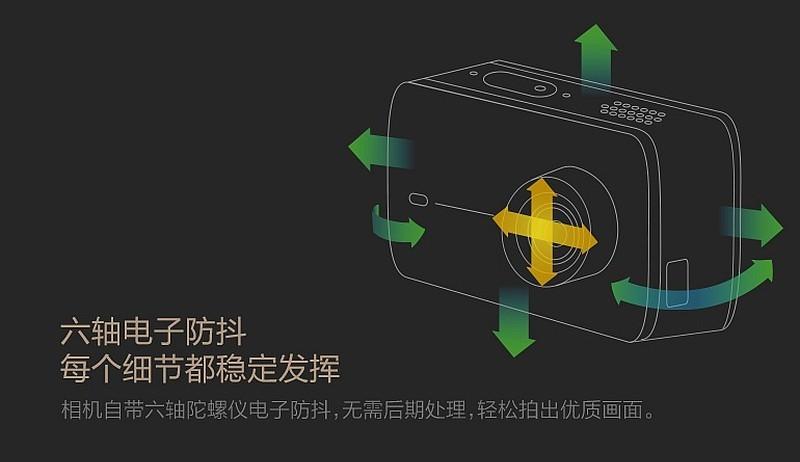 小米聲稱小蟻 4K 運動相機具備 6 軸電子防震功能,但未知操作實際效果。