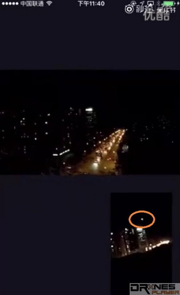 網上流傳疑似是小米無人機直播期間墜機短片的截圖:上方畫面是小米無人機的航拍畫面,下方畫面則是旁邊有人利用手機拍攝在空中飛行的小米無人機,可見畫面中懷疑是小米無人機的光點(橘色圈)突然由高空急速墜落。