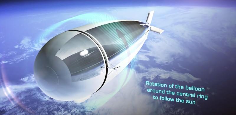 Stratobus 機身的巨環令飛船能轉動,時常面向太陽。