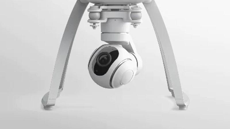 小米無人機的球形相機雲台可作平移、俯仰、橫滾移動。