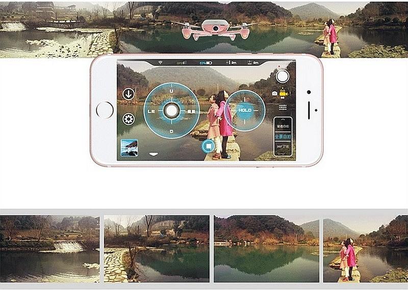 Kimon 可藉由飛行器 360 度自轉空拍,再經特製手機 app 合成輸出為 360 度全景圖。